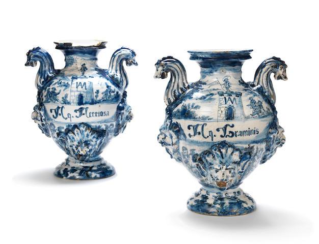 A pair of Savona vases