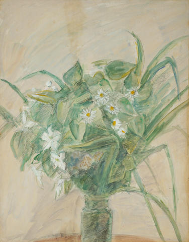 Robert Falk, Bouquet of daisies in a vase, watercolor and gouache on paper