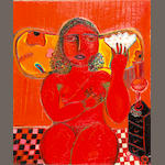 Vassilis Sperantzas (Greek, born 1938) Red woman 60 x 49.5 cm.