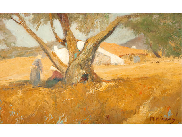 Michalis Economou (Greek, 1888-1933) Landscape with farmhouse 30 x 49 cm.