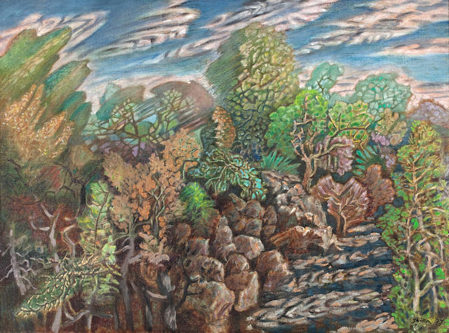 Nikos Hadjikyriakos-Ghika (Greek, 1906-1994) Cloudy sky, trees and riverbed 55 x 74 cm.