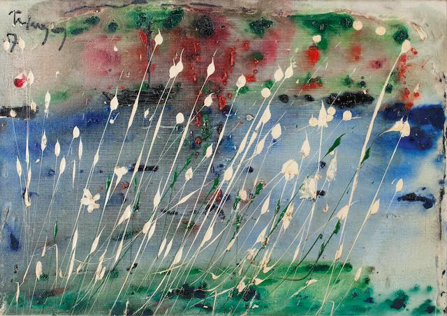 Thanos Tsingos (Greek, 1914-1965) Composition aux fleurs blanches 65 x 92 cm.