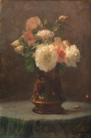 Georgios Jakobides (Greek, 1852-1932) Vase with bouquet 53.5 x 36 cm.