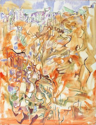 Nikos Hadjikyriakos-Ghika (Greek, 1906-1994) Falaise 93 x 72 cm.