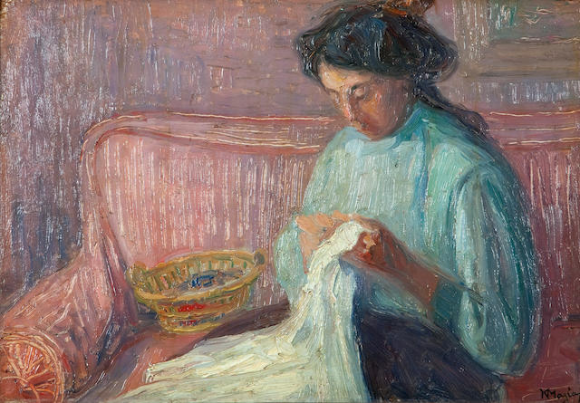 Constantinos Maleas (Greek, 1879-1928) Needlework 28.5 x 41 cm.