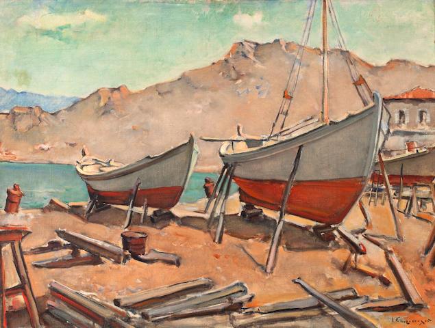 Yiannis Spyropoulos (Greek, 1912-1990) Boatyard, Hydra 60 x 80 cm.