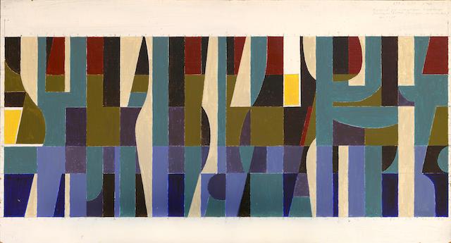 Yiannis Moralis (Greek, 1916-2009) Composition 37.5 x 69 cm.