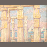 Constantinos Maleas (Greek, 1879-1928) Luxor Temple and view of the Nile 30 x 40 cm.