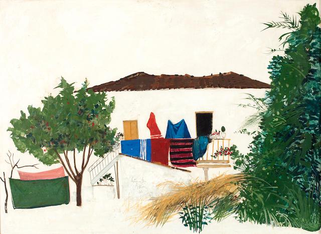 Spyros Vassiliou (Greek, 1902/3-1984) Farm house 53.5 x 73 cm.