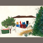 Spyros Vassiliou (Greek, 1902/3-1984) Farm house 53.5 x 73 cm.