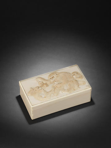 An ivory box and cover By Tomioka, Meiji Period