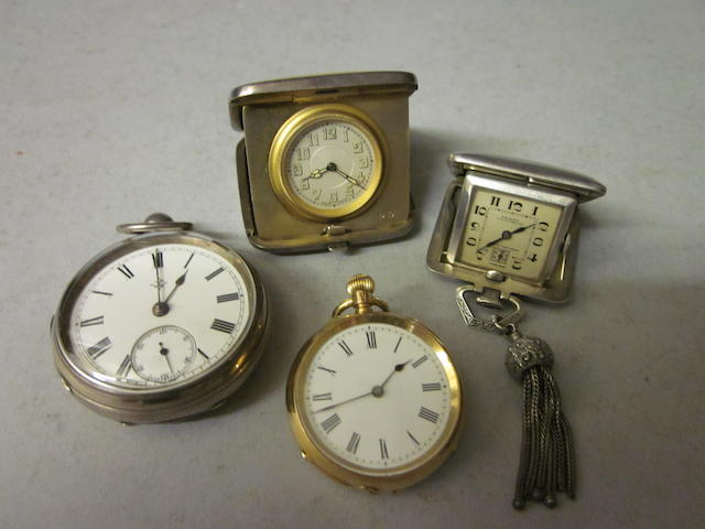 An 18ct gold open face fob watch,  (4)