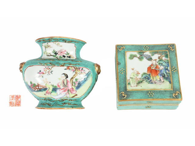 A Chinese famille rose wall pocket and a box and cover Qianlong period.