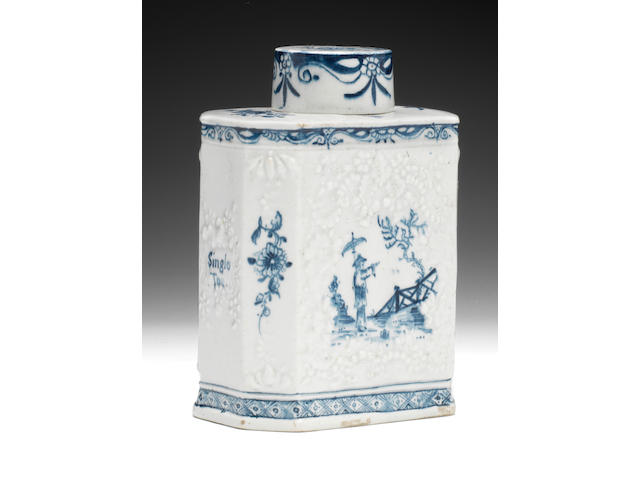 A fine Lowestoft tea canister and cover, circa 1760-62