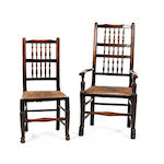 A harlequin set of eight 19th Century as spindle back chairs