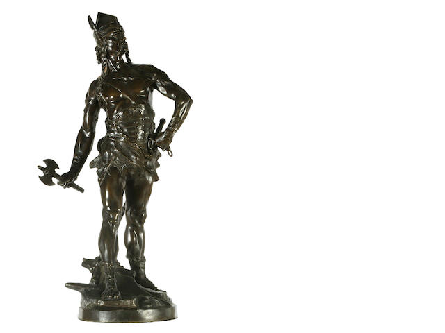 A bronze figure of a Viking warrior, signed E.Diouot and stamped ETLING, Paris, Bronze