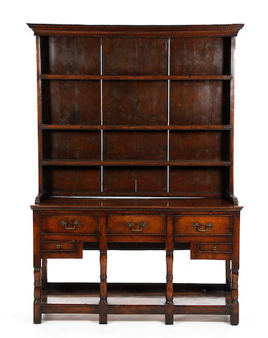 An early 19th century oak high dresser, South Wales