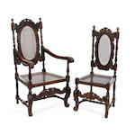 Set of eight Caroleon style oak and cane dining chairs  Including two open armchairs