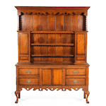 A George III style oak and mahogany crossbanded high dresser, Shropshire,