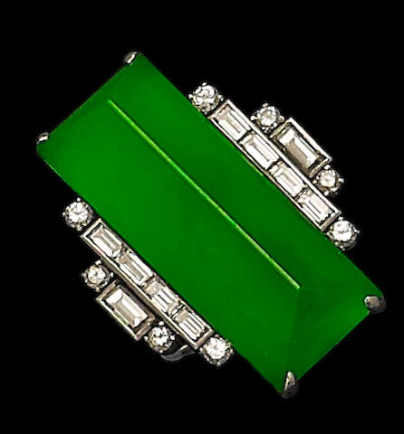 An Art Deco jadeite and diamond ring