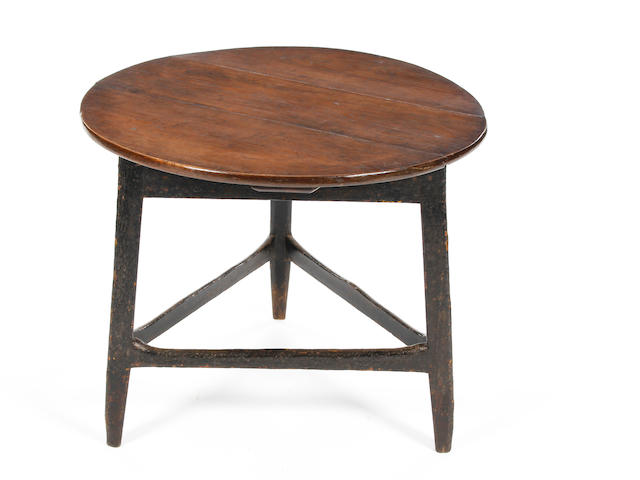 A George III and later oak and pine-black painted cricket table