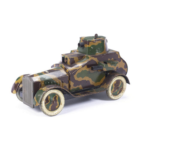 A tinplate clockwork four-wheel Armoured Car 1