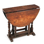 A William and Mary oak gateleg occasional table