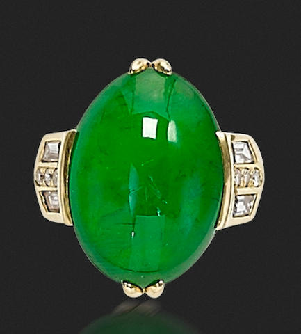 A jadeite and diamond ring, by Gump's