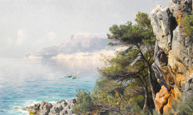 Peder Mork Mönsted (Danish, 1859-1941) View of Monte Carlo Bay