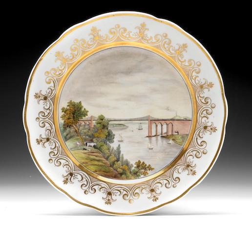 A rare Nantgarw topographical plate, circa 1818-20