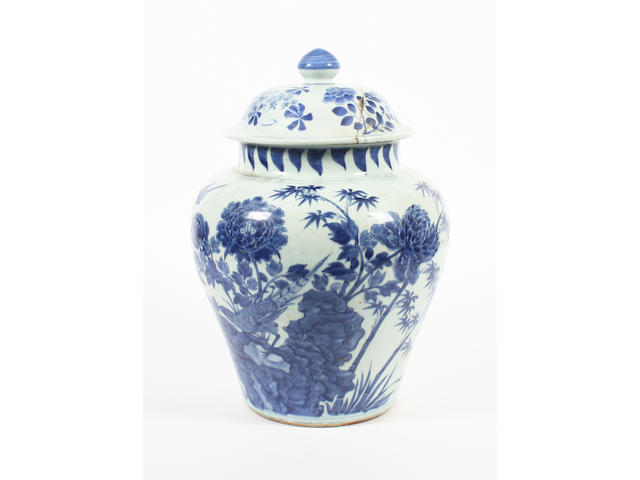 A Chinese blue and white large vase and cover 19th Century.