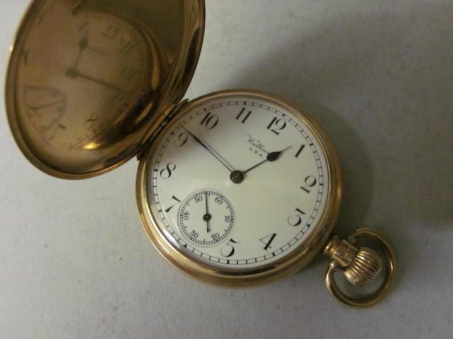Waltham: A 9 carat gold hunter pocket watch,