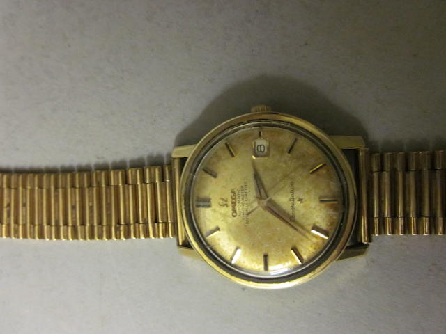 Omega: A gentleman's gold platd automatic Constellation bracelet watch,