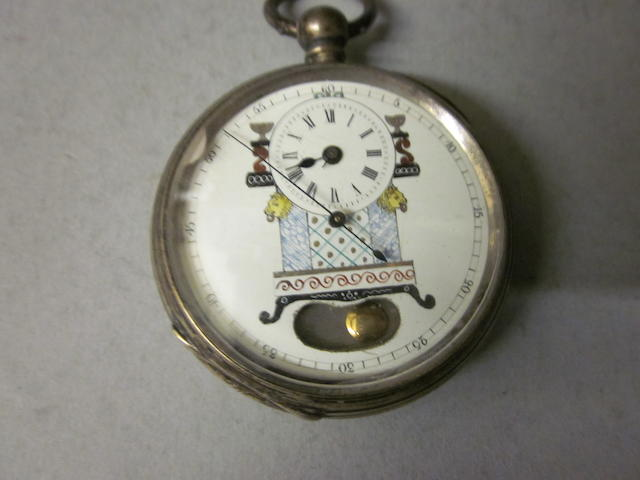 A continental silver open face pocket watch,