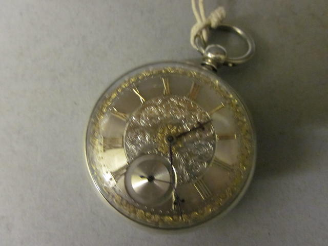 A Victorian silver open faced key wound pocket watch