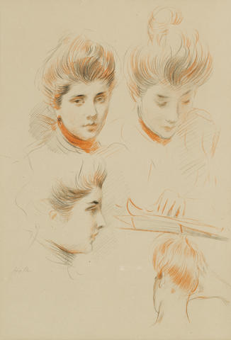 Paul César Helleu (French, 1859-1927) Studies of the head of a young woman