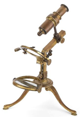 A Dellebarre-style compound monocular microscope, probably Dutch,  circa 1800,
