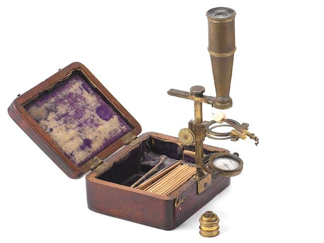 A Gould-type pocket compound microscope, English,  circa 1830,