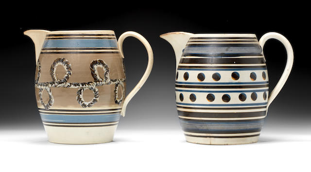 Two large mocha type banded jugs with coloured slip decoration, perhaps Liverpool (cracks and chips)