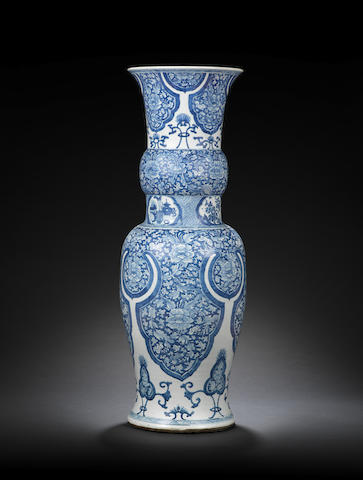 A very large blue and white baluster vase Kangxi