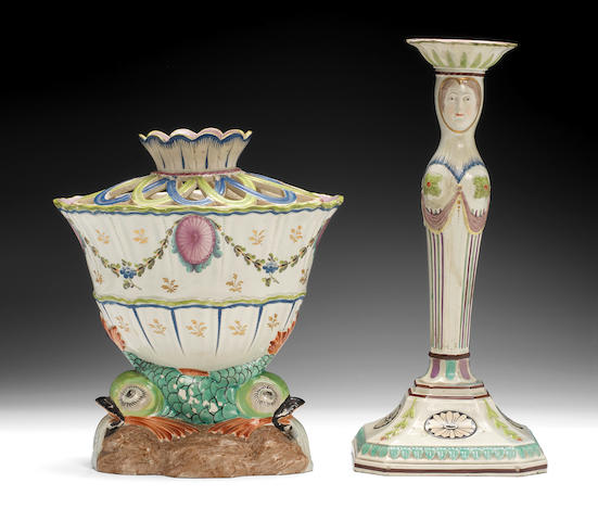 A very rare Lakin and Poole bulb pot and cover and a candlestick, circa 1791-95