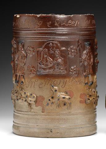 A rare Vauxhall stoneware commemorative mug