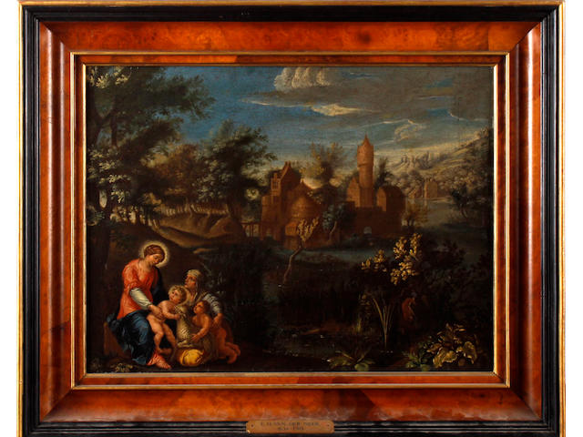 Circle of Eglon Hendrik van der Neer (Amsterdam 1634-1703 Düsseldorf) Mary and Christ with Elizabeth and St John the Baptist before a castellated house in a pastoral landscape