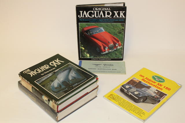 A collection of books relating to Jaguar XK Restoration