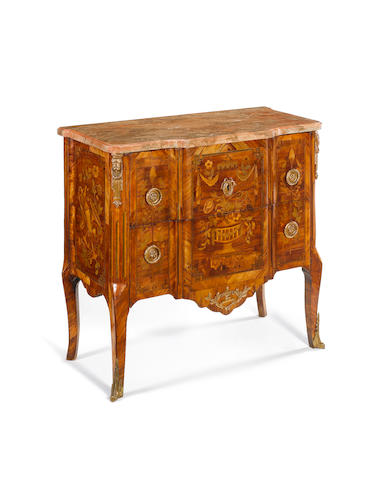 Ormolu mounted marble top kingwood commode