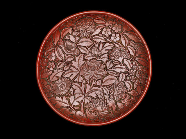 An extremely rare cinnabar lacquer dish Incised Yongle six-character mark and of the period