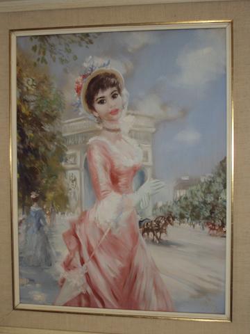 John Strevens (British, 1902-1990) 'La Dame a la Robe Rouge'