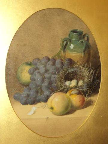 William Cruickshank (British, 1848-1922) Still life of fruit, jug and birds nest with eggs