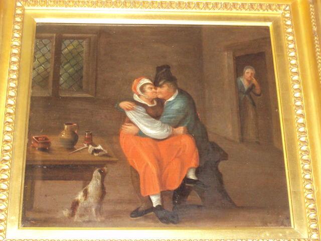 Follower of George Morland (British, 1763-1804) A stolen kiss