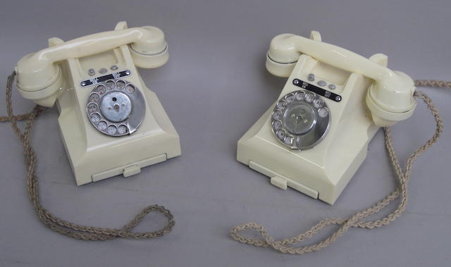 Two type 328 ivory bakelite telephones:  impressed marks: both for 164 57